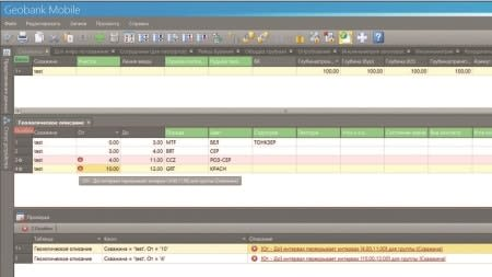 Пример проверки данных на ошибке в режиме онлайн в Geobank Mobile