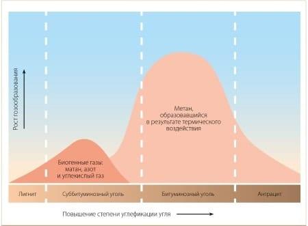 Природная метаноностность углей различной стадии метаморфизма