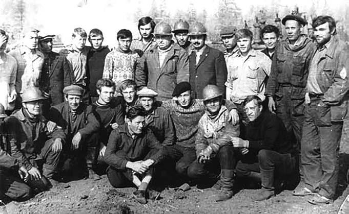 Буровая бригада мастера С.Г. Степанова на Куюмбинской скважине №1.