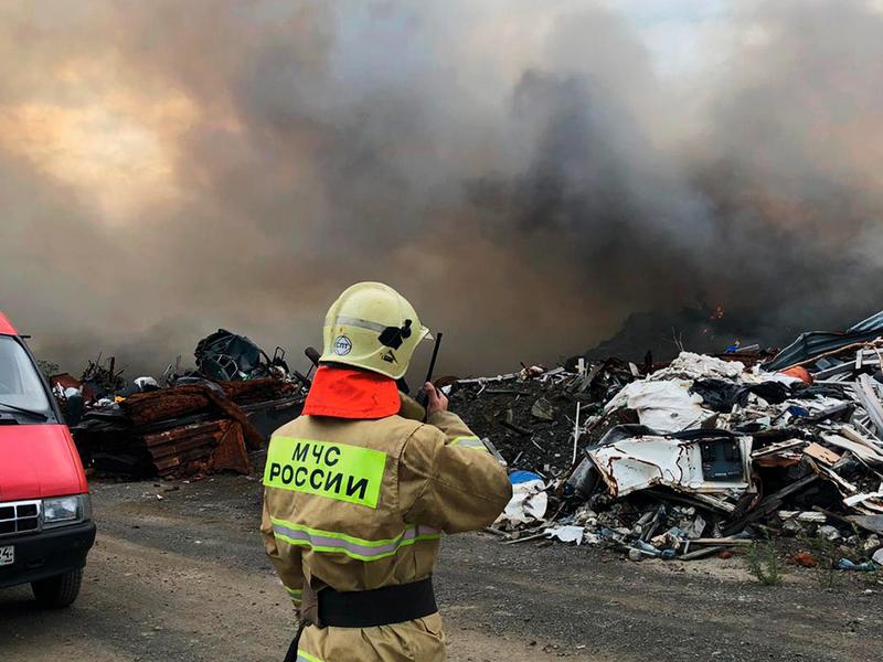 пожар на полигоне в Норильске