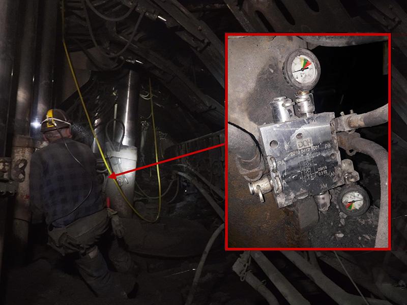 Вид двойного клапанного блока во время реальных испытаний в лаве