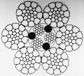 Рис. 1 - Поперечный разрез изготовленного в ОАО «ММК-МЕТИЗ» талевого каната диаметром 28,0 мм конструкции 6х26(1+5+5/5+10) + 3х19(1+9+9) + 3 о.с.