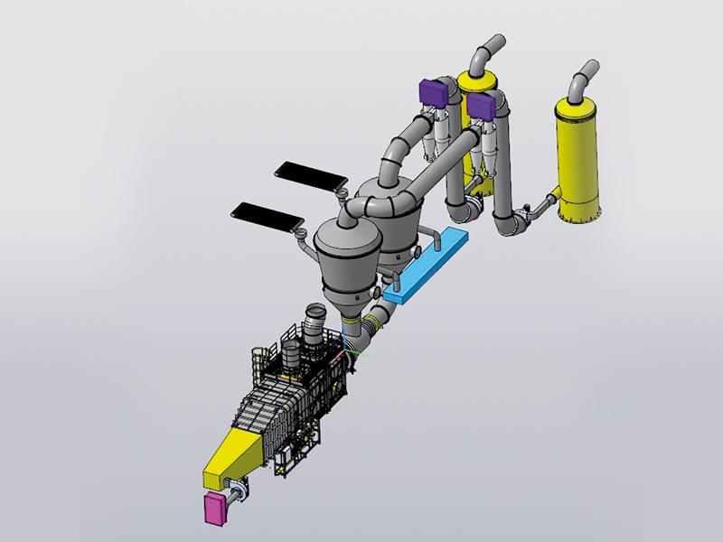 Технологическая линия сушки с двумя круглыми сушилками КС