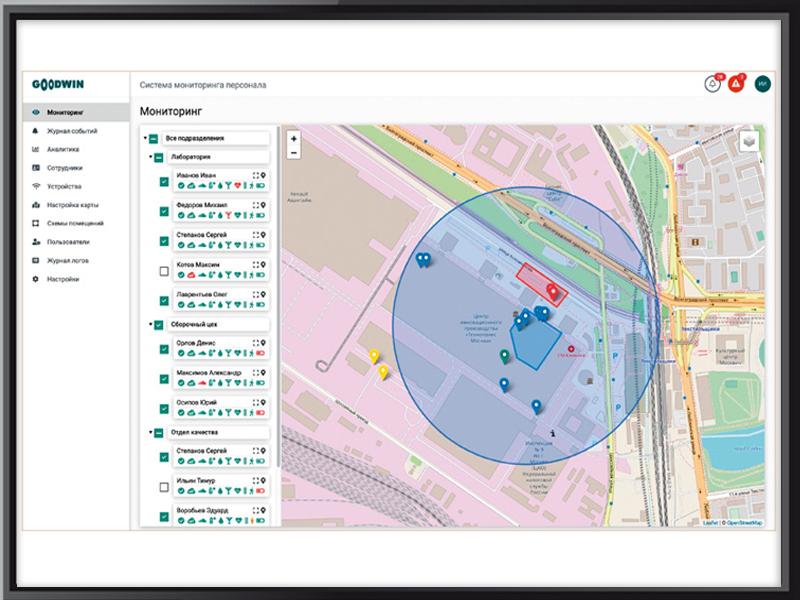 Управляющая платформа Goodwin—IoT. Мониторинг персонала