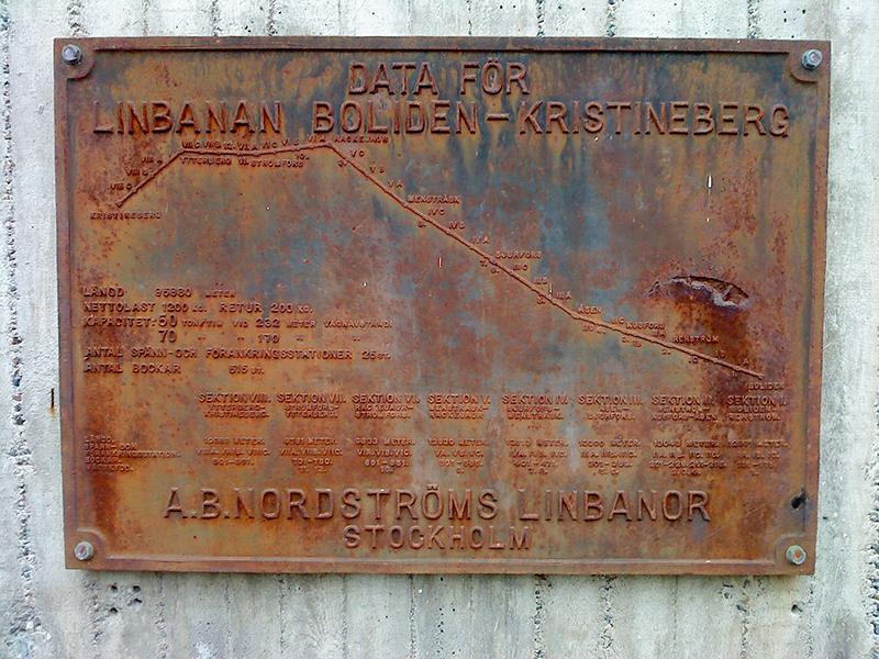 Памятная табличка канатной дороги Кристинеберг-Болиден