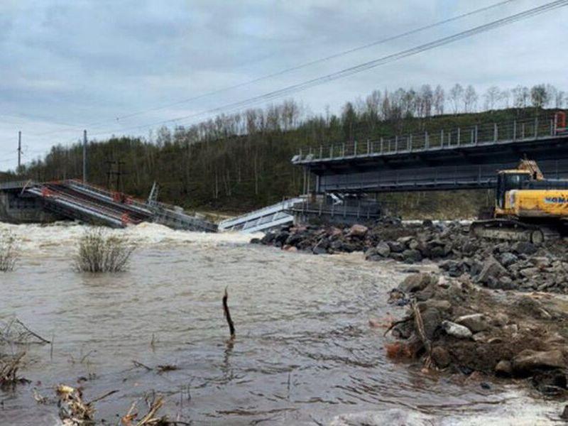 обрушение моста под Мурманском