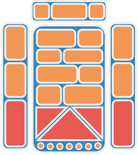 Рис. 5б. Схема комбинированной футеровки. Оранжевым цветом  обозначены листы Hardox400, красным – CDP4666 с основой 8 мм  и наплавленным слоем 5 мм