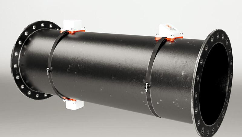 Пример установки датчиков на трубе землесоса