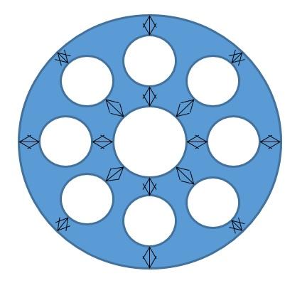 Исключение контактных напряжений между проволоками и прядями в канате, с сечением заполненным полимером.